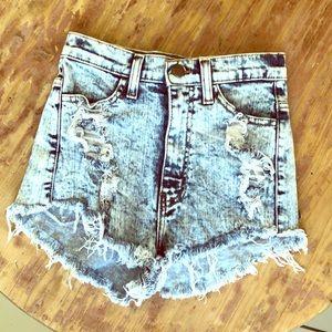 Vibrant Shorts - Distressed Patriotic Denim Shorts.